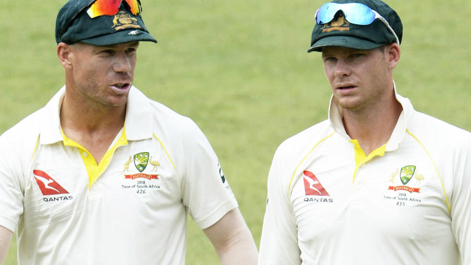 David Warner and Steve Smith. (Photo by Lee Warren/Gallo Images/Getty Images)