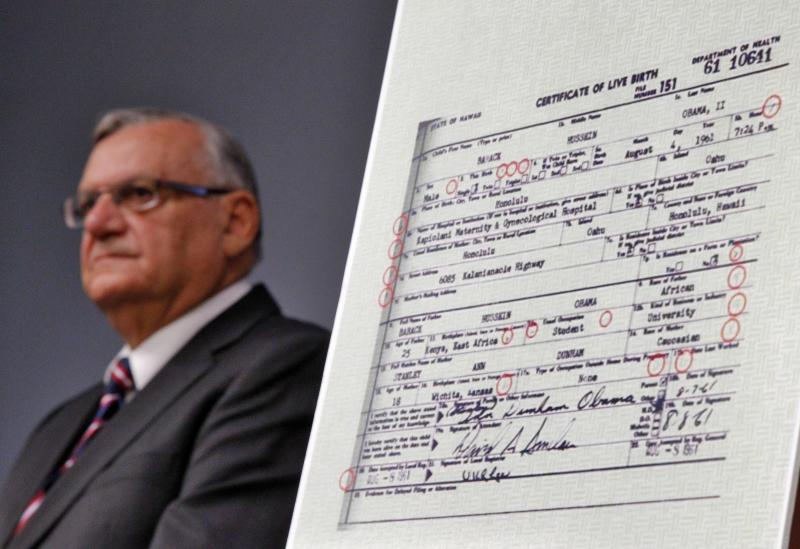 Maricopa County Sheriff Joe Arpaio announces Tuesday, July 17, 2012, in Phoenix that President Obama's birth certificate, as presented by the White House in April 2011, is a forgery based on an investigation by the Sheriff's office. (AP Photo/Matt York)