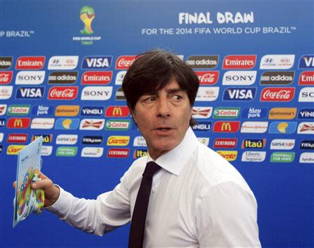 Germany's coach Joachim Loew arrives for the draw for the 2014 World Cup at the Costa do Sauipe resort in Sao Joao da Mata, Bahia state, December 6, 2013. REUTERS/Ricardo Moraes
