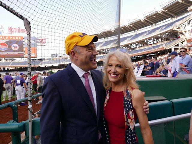 White House advisers Gary Cohn and Kellyanne Conway at the 2017 congressional baseball game at Nationals Park. (Photo: Hunter Walker/Yahoo News)