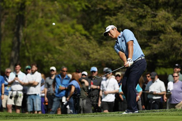 Danny Lee of New Zealand plays his shot on the 13th hole during the first round of the 2019 PGA Championship at the Bethpage Black course on May 16, 2019 in Farmingdale, New York. (Photo by Patrick Smith/Getty Images)