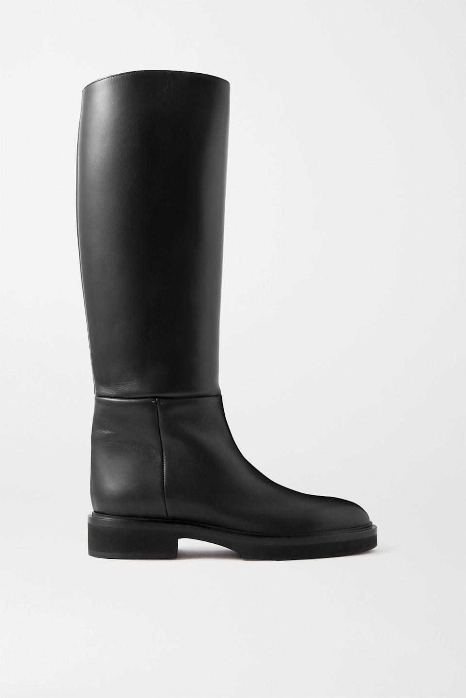 """<br><br><strong>Khaite</strong> Derby Leather Knee Boots, $, available at <a href=""""https://go.skimresources.com/?id=30283X879131&url=https%3A%2F%2Fwww.net-a-porter.com%2Fen-us%2Fshop%2Fproduct%2Fkhaite%2Fderby-leather-knee-boots%2F1252475"""" rel=""""nofollow noopener"""" target=""""_blank"""" data-ylk=""""slk:Net-A-Porter"""" class=""""link rapid-noclick-resp"""">Net-A-Porter</a>"""