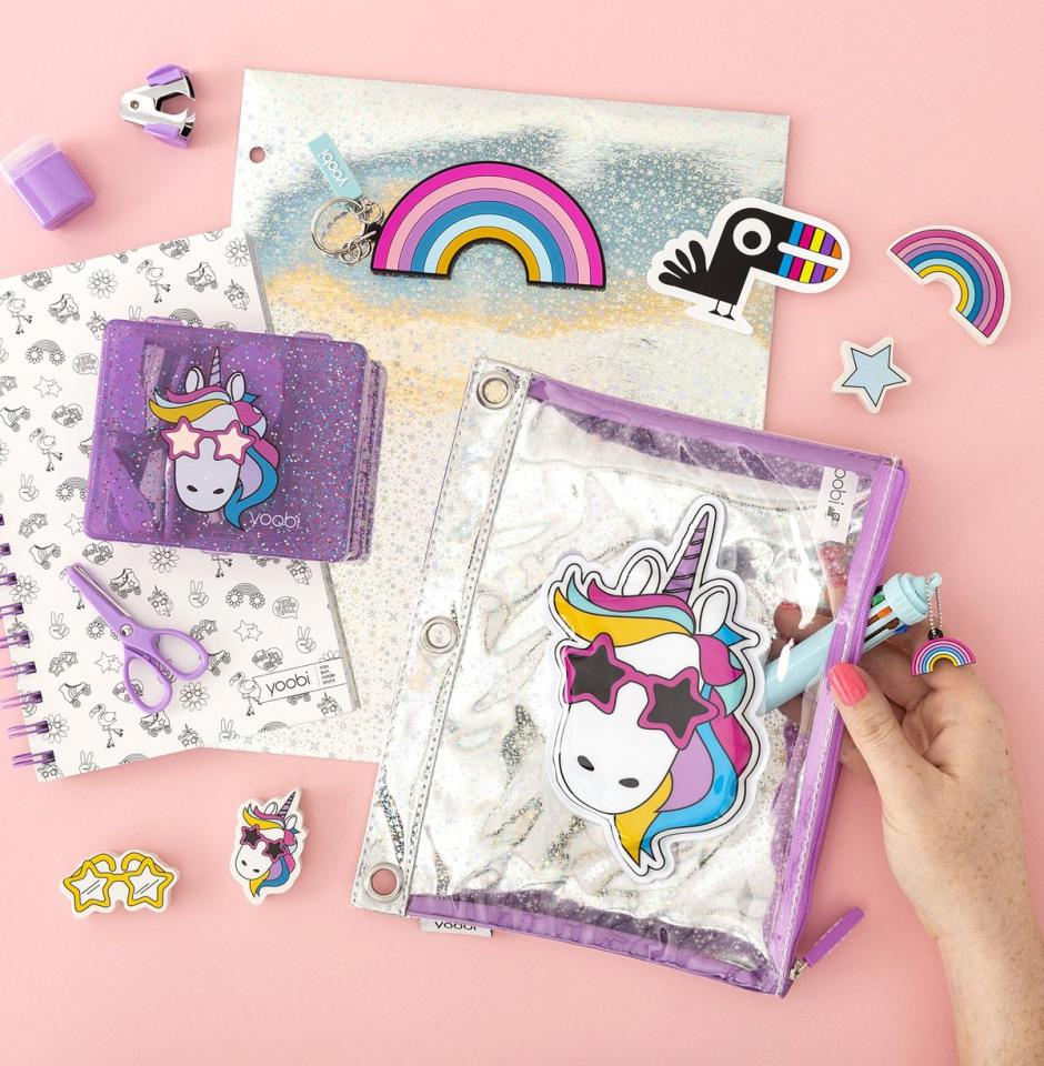"""Has your child been begging for unicorn-themed pencil cases? How about rainbow-colored notebooks or ballpoint glitter pens? Get all of the cutest supplies from <a href=""""https://yoobi.com/"""">Yoobi</a>, a brand that's chock-full of fun kids stationery and helps provide essential school supplies to classrooms across the U.S. with each purchase.  Learn about their nationwide impact <a href=""""https://yoobi.com/pages/our-impact"""">here,</a> and <a href=""""https://yoobi.com/"""">shop here</a>."""
