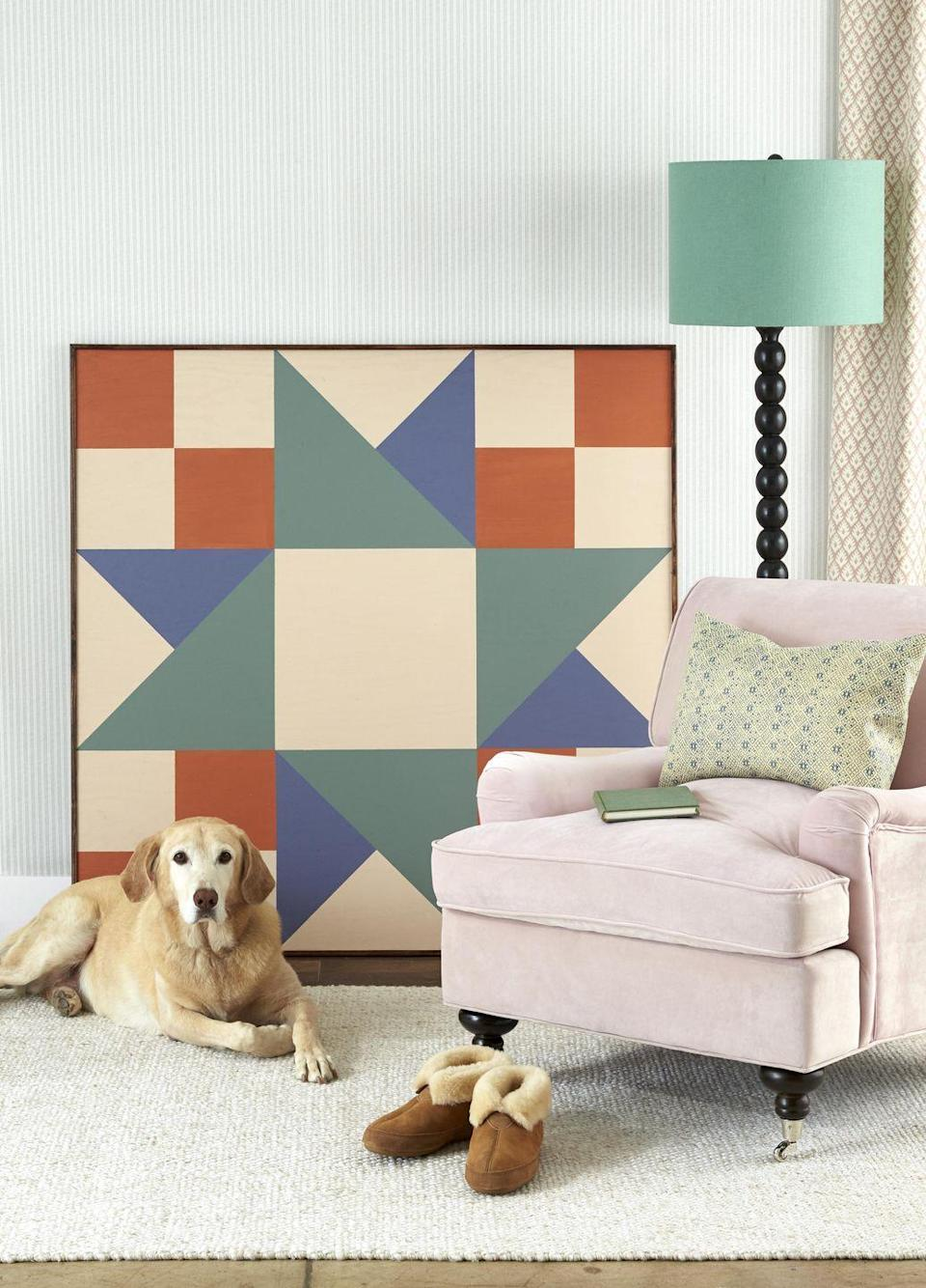 """<p>For the mom who loves to sew or just like to think about doing it one day when the kids are out of the house!<br><br><strong>To make</strong>: First, cut a piece of plywood to desired size (ours is four feet square). Draw a quilt block (here, Twin Star–style) on the wood with pencil, using a ruler or painter's tape for straight lines, then paint with acrylic paint. Nail strips of 1/2-inch trim along the edges to finish. Lean or hang on the wall.<br><a class=""""link rapid-noclick-resp"""" href=""""https://www.amazon.com/Acrylic-Pouches-Pigments-Professional-Painters/dp/B078CYZJ2C/ref=sr_1_1_sspa?tag=syn-yahoo-20&ascsubtag=%5Bartid%7C10050.g.2357%5Bsrc%7Cyahoo-us"""" rel=""""nofollow noopener"""" target=""""_blank"""" data-ylk=""""slk:SHOP PAINT"""">SHOP PAINT</a></p>"""