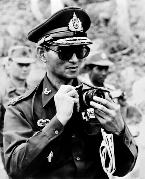 King Bhumibol Adulyadej pictured in 1980 on the Thai Cambodian border