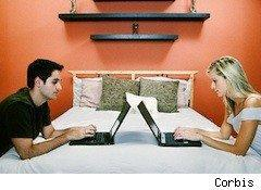 a couple looking into dueling laptops - Amazon Prime