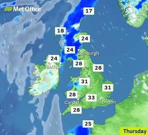 The mercury is predicted to rise to 33C on Thursday in some parts of England. (Met Office)
