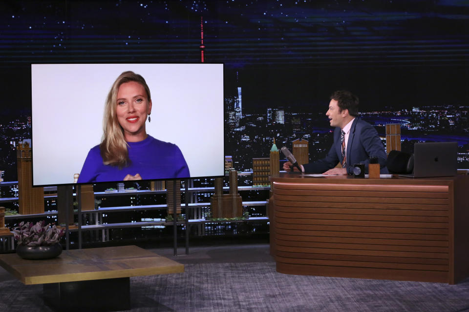 THE TONIGHT SHOW STARRING JIMMY FALLON -- Episode 1483 -- Pictured: (l-r) Actress Scarlett Johansson during an interview with host Jimmy Fallon on Monday, June 21, 2021 -- (Photo By: Andrew Lipovsky/NBC/NBCU Photo Bank via Getty Images)