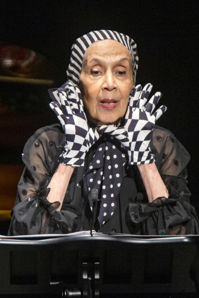 Carmen de Lavallade speaks to attendees during the memorial of late actress Diahann Carroll at the Helen Hayes Theater on Sunday, Nov. 24, 2019 in New York.(AP Photo/Eduardo Munoz Alvarez)