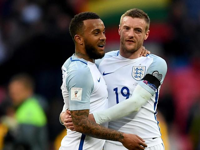 Vardy's black eye was very noticeable at Wembley: Getty