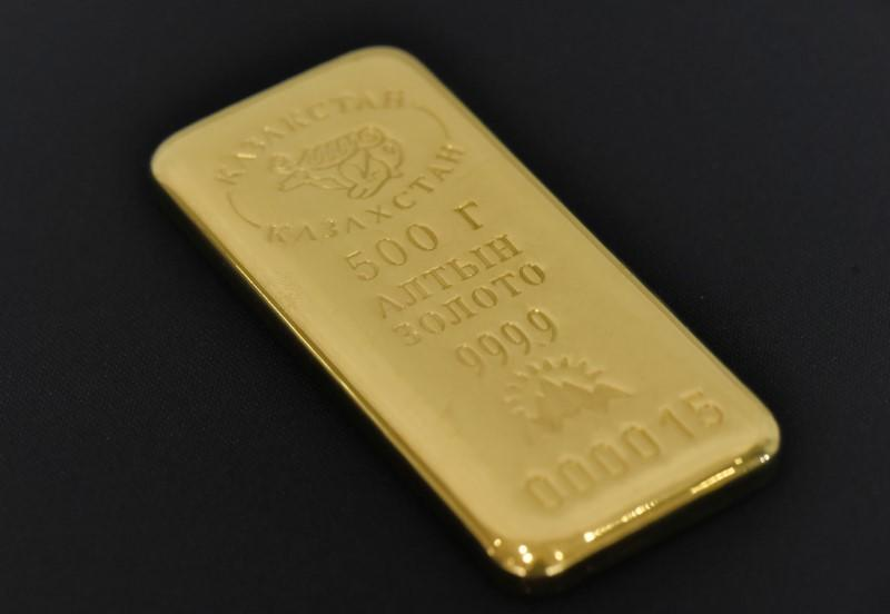 FILE PHOTO - A 500 gram gold bar is seen at the Kazakhstan's National Bank vault in Almaty