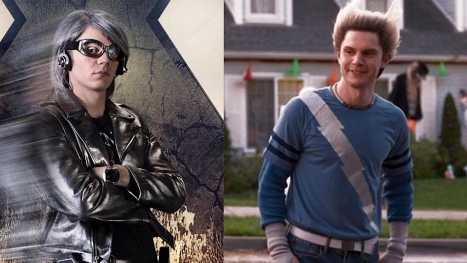 """Evan Peters as the X-Men's Quicksilver and as """"fake Pietro"""" from WandaVision."""