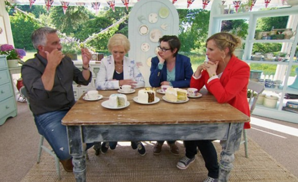 """<p>There's no set time for how long the judges take to deliberate. """"In the past we have sometimes known who's leaving the moment we've finished judging–or it will take half an hour,"""" judge Mary Berry told <a href=""""https://www.bbcgoodfood.com/content/backstage-bake-0"""" rel=""""nofollow noopener"""" target=""""_blank"""" data-ylk=""""slk:BBC Good Food"""" class=""""link rapid-noclick-resp"""">BBC Good Food</a>. """"Do you remember when it took five hours to make a decision in series one? Interminable. It was like waiting for a new Pope—extraordinary!"""" former judge Mel Giedroyc told <a href=""""https://www.bbcgoodfood.com/content/backstage-bake-0"""" rel=""""nofollow noopener"""" target=""""_blank"""" data-ylk=""""slk:BBC Good Food"""" class=""""link rapid-noclick-resp"""">BBC Good Food</a>.</p>"""