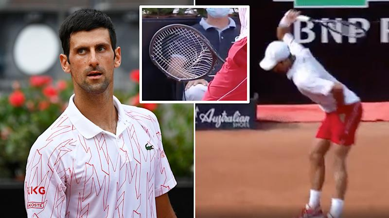 Pictured here, Novak Djokovic smashed a racquet in his Italian Open quarter-final win.