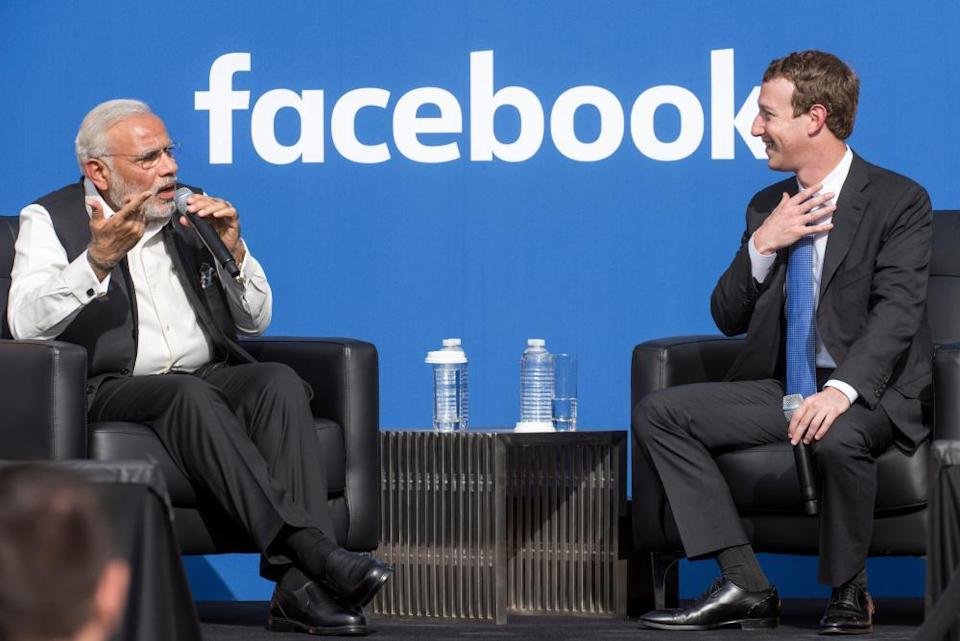 Modi meets Mark Zuckerberg, CEO of Facebook, in Menlo Park in 2015.