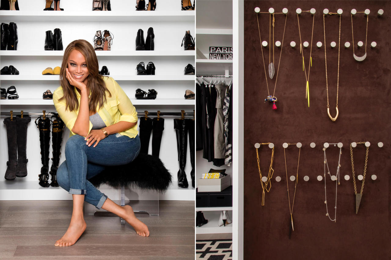 """<p><strong>Create Space Where It Didn't Exist</strong></p><p>Get shoes off the ground to instantly make a closet feel less cluttered, says Lisa Adams of <a href=""""https://laclosetdesign.com/"""">LA Closet Design</a>, who designed Tyra Banks's space. """"Hang boots on shoe trees with hooks,"""" she suggests.</p><p>Adams also turned an empty wall into a jewelry display case. Use pegboard, fabric and doublesided tape to DIY a similar setup. You can get ultra suede fabric, like the one Adams used for Banks, by the yard on Amazon. """"No more tangled necklaces!"""" says Adams.</p>"""