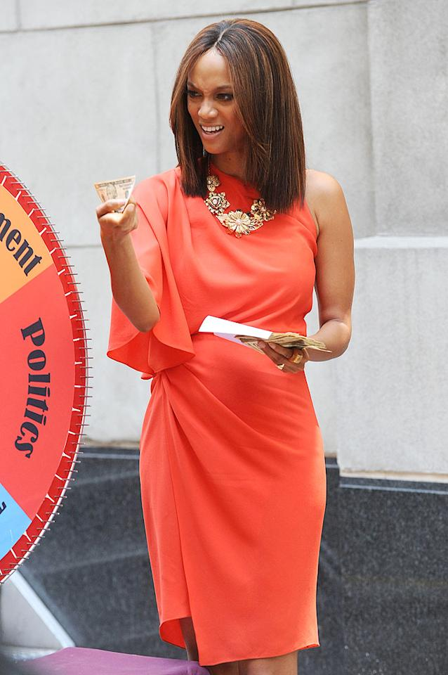 "This week Tyra Banks announced she would reveal her natural, weave-free hair on the September 8 season premiere of her talk show. Declaring it National Real Hair Day, she's encouraging viewers to ""go natural"" along with her. Doug Meszler/<a href=""http://www.splashnewsonline.com"" target=""new"">Splash News</a> - August 19, 2009"
