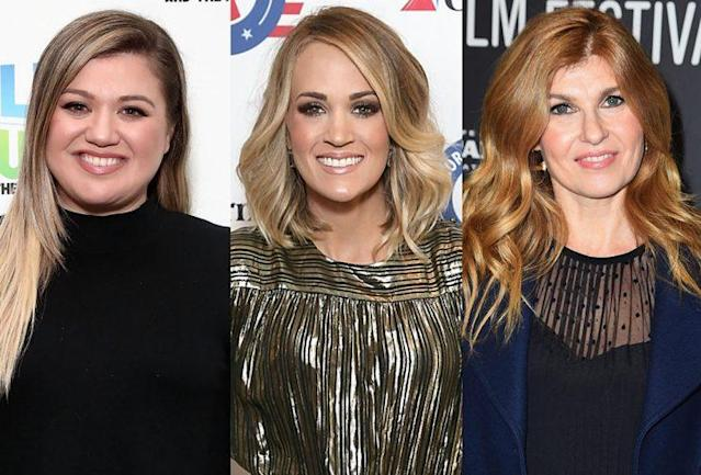 Kelly Clarkson, Carrie Underwood, and Connie Britton. (Photo: Getty Images)