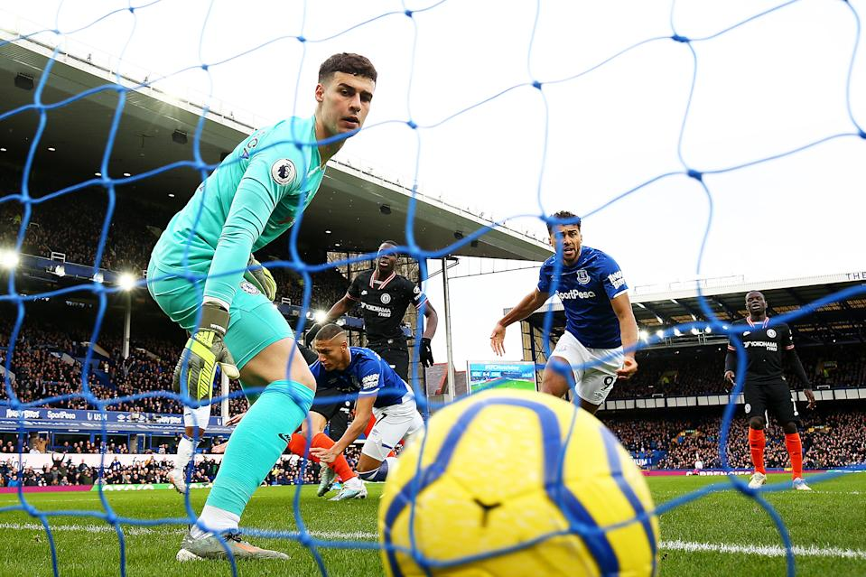 LIVERPOOL, ENGLAND - DECEMBER 07: Kepa Arrizabalaga of Chelsea looks on as Richarlison of Everton (not pictured) scores his team's first goal during the Premier League match between Everton FC and Chelsea FC at Goodison Park on December 07, 2019 in Liverpool, United Kingdom. (Photo by Clive Brunskill/Getty Images)