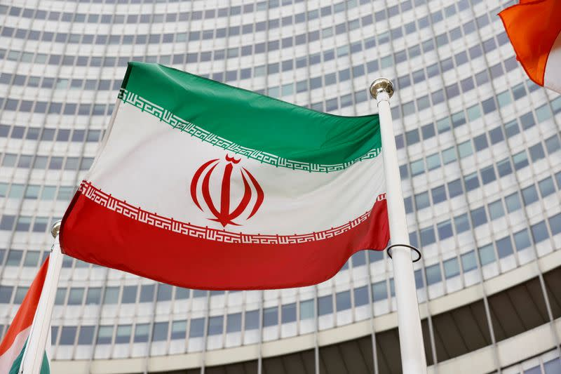FILE PHOTO: FILE PHOTO: the Iranian flag waves in front of the International Atomic Energy Agency (IAEA) headquarters, in Vienna