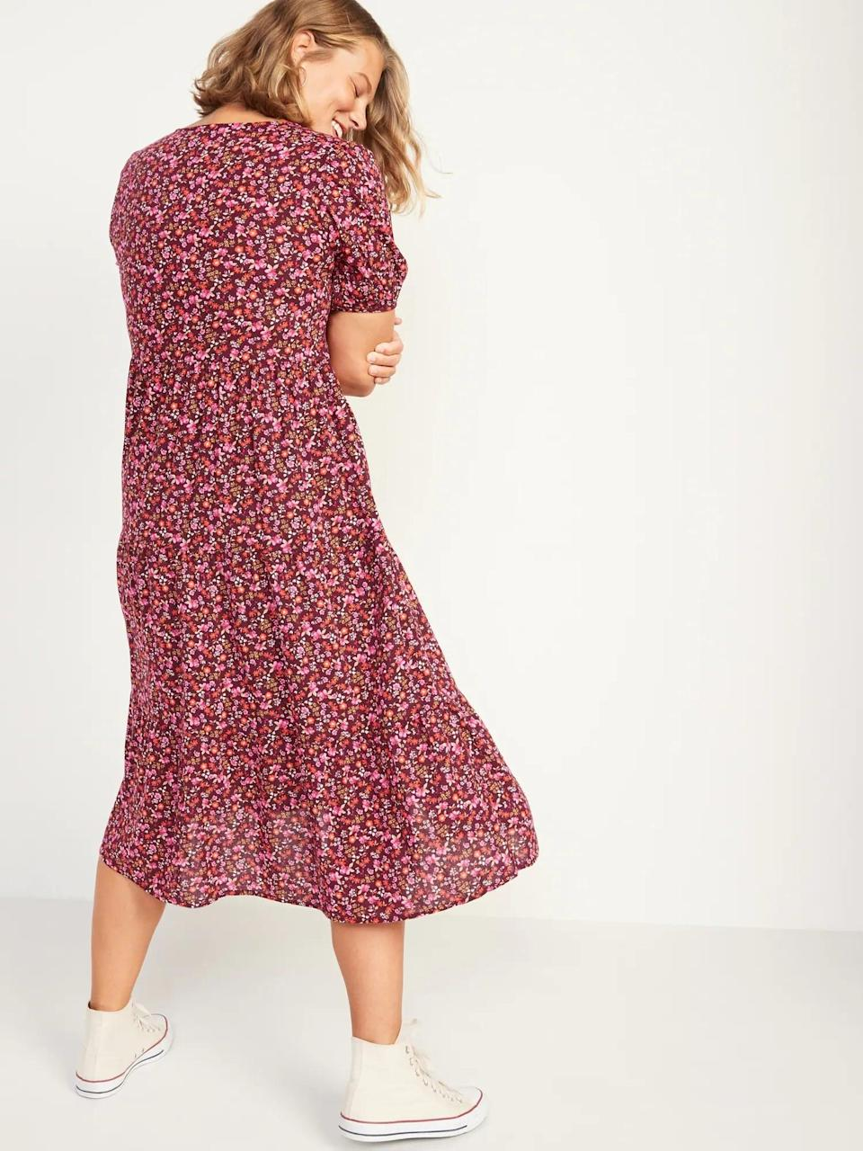<p>The tiered skirt on the <span>Floral Puff-Sleeve Button-Front Midi Swing Dress for Women</span> ($45) makes it super flowy. </p>