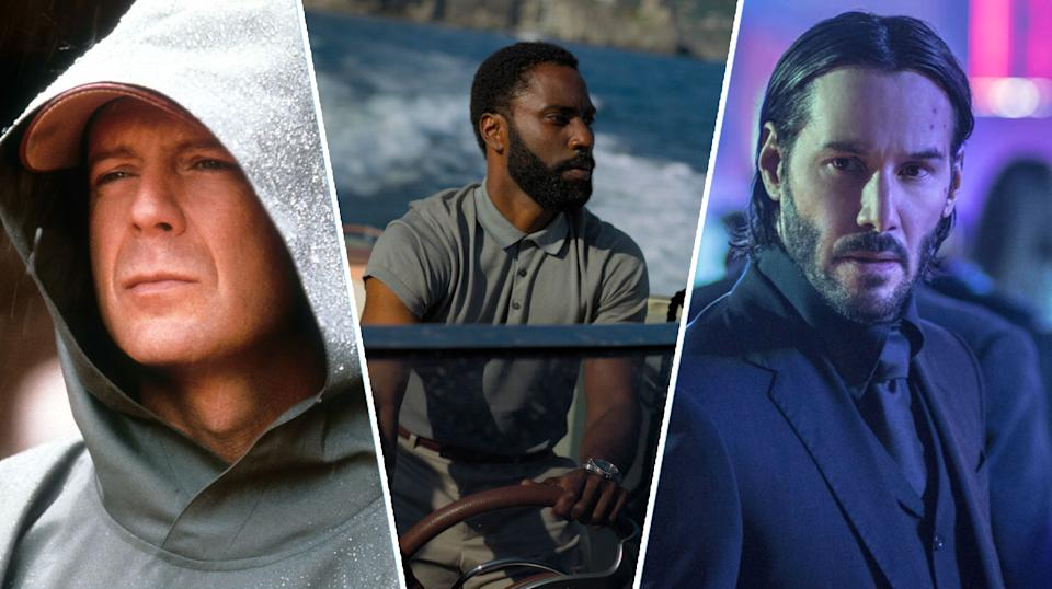 Unbreakable, Tenet, and John Wick Chapter Two are all ready to stream this weekend (Touchstone/Warner Bros/Lionsgate)