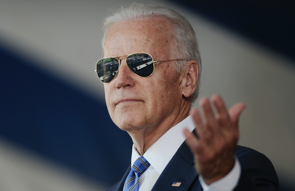 Then-Vice President Joe Biden gestures as he delivers the Class Day Address at Yale University in New Haven, Conn., on May 17, 2015. (AP/Jessica Hill)