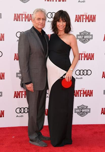 Actor Michael Douglas, who plays brilliant quantum physicist Hank Pym, pictured with his character's daughter Hope van Dyne played by Evangeline Lilly
