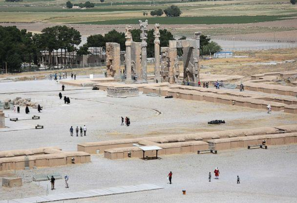 PHOTO: Tourists walk near ancient ruins of the Gate of All Nations at the Persepolis archeological site on May 30, 2014 in Persepolis, Iran. (John Moore/Getty Images, FILE)
