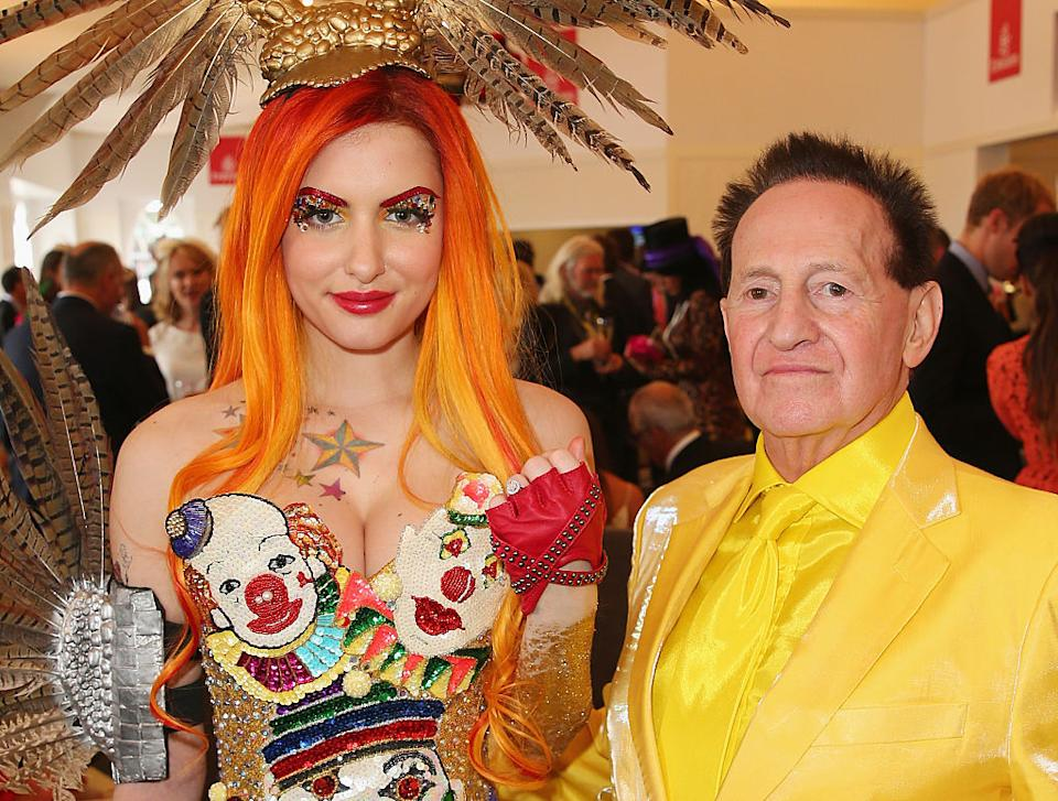 Gabi Grecko poses with her engagement ring after Geoffrey Edelsten proposed at the Emirates Marquee on Melbourne Cup Day at Flemington Racecourse in 2014.
