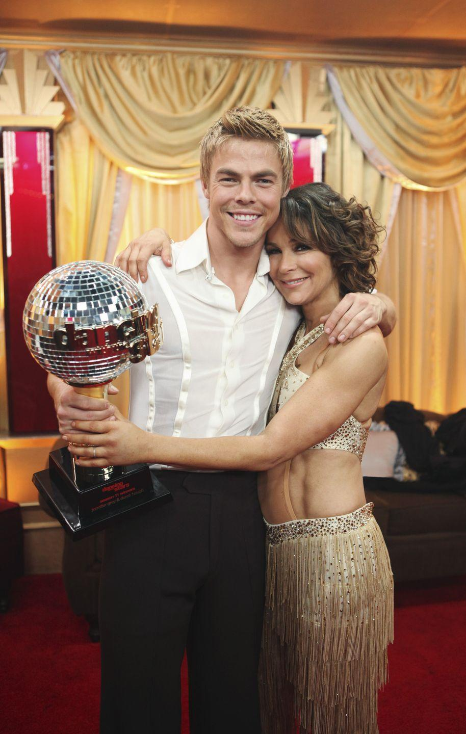 "<p>The <em>Dirty Dancing</em> actress barely missed a step en route to the Mirrorball Trophy. However, Jennifer ruptured a disc in her lower back the night before the season 11 finale, per <em><a href=""https://www.cbsnews.com/news/jennifer-grey-fought-cancer-spinal-cord-injury-to-win-dancing-with-the-stars/"" rel=""nofollow noopener"" target=""_blank"" data-ylk=""slk:CBS"" class=""link rapid-noclick-resp"">CBS</a></em>. Nobody puts baby in the corner, and that didn't hold her back from hoisting the trophy with pro partner Derek Hough. She later underwent surgery to remove the fragment following the competition. </p>"