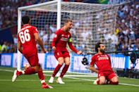Mohamed Salah of Liverpool celebrates scoring a goal (Photo by Robbie Jay Barratt - AMA/Getty Images)