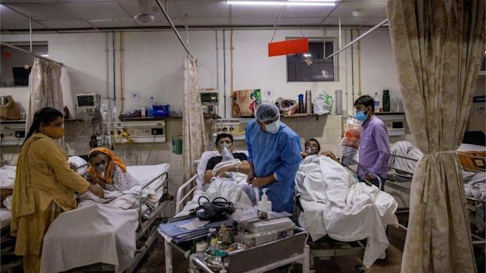 Patients are treated for Covid in an Indian hospital, April 2021