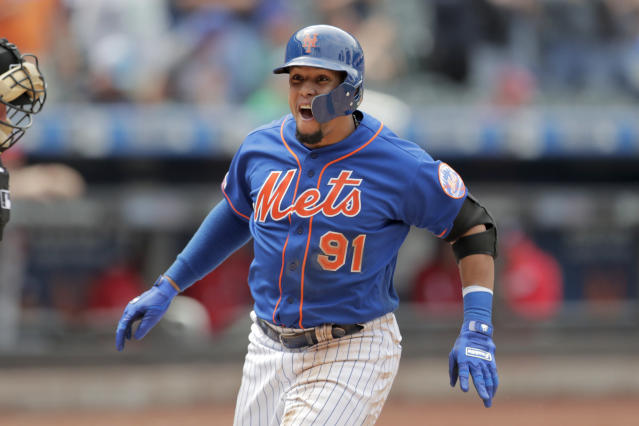 New York Mets' Carlos Gomez reacts while running the bases after hitting a three-run home run off Washington Nationals relief pitcher Wander Suero during the eighth inning of a baseball game, Thursday, May 23, 2019, in New York. (AP Photo/Julio Cortez)