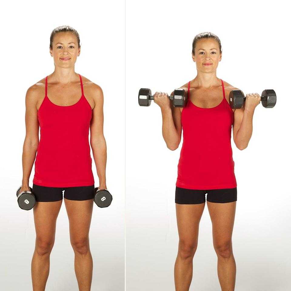 <ul> <li>Start by holding a dumbbell in each hand at the sides of your body.</li> <li>Keeping your elbows close to your sides, slowly raise the dumbbells to your chest.</li> <li>Moving with control, lower back to the starting position. </li> <li>This counts as one rep.</li> <li>Perform 10 reps with medium-size weights.</li> </ul>