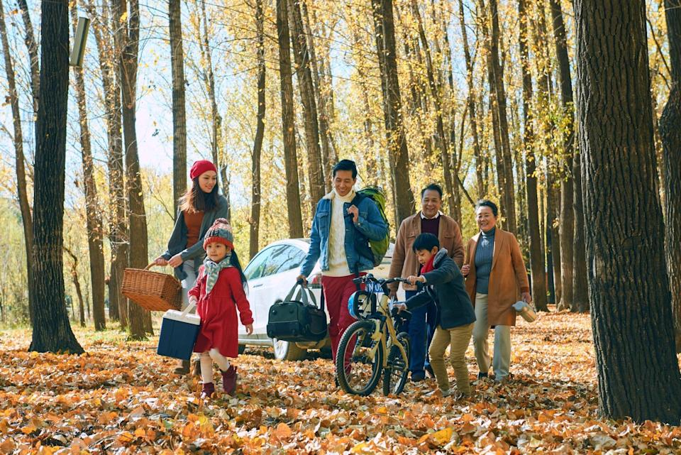An image of a family on a trip in the fall.