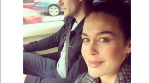 On Friday, Australian actress and model Megan Gale posted a photo that shows her and her partner, Australian Football League player Shaun Hampson, on their way to date night.