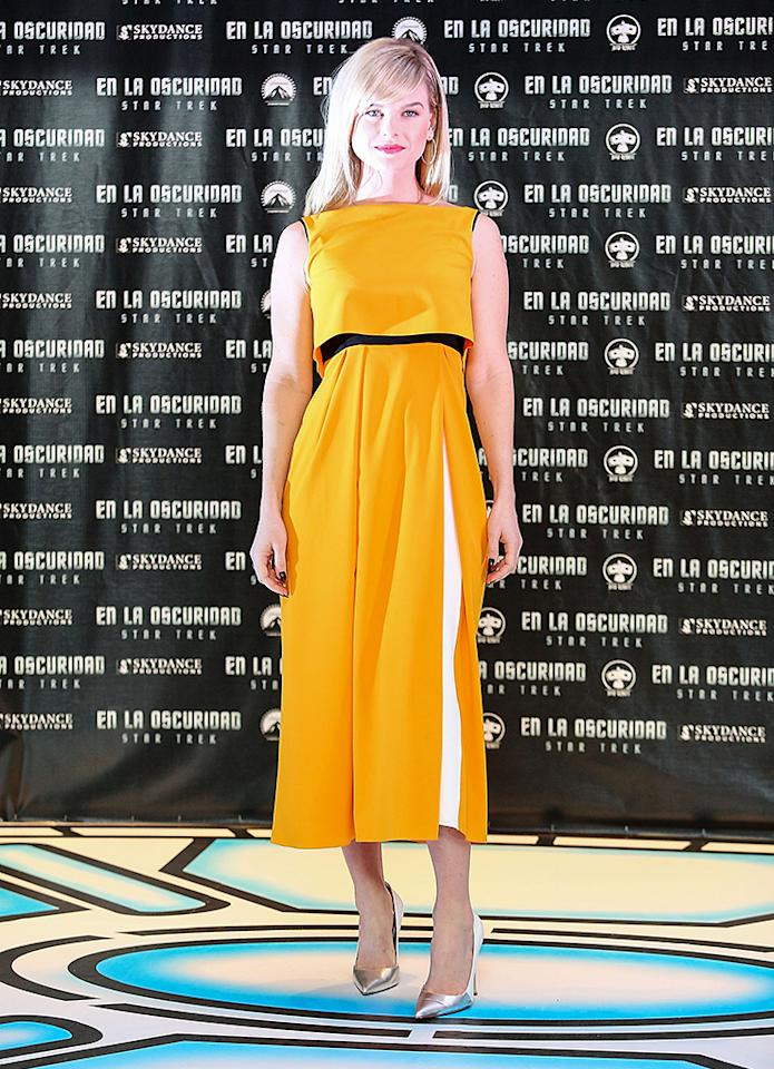 """MEXICO CITY, MEXICO - MAY 07:  Actress Alice Eve attends a photocall to promote the new film """"Star Trek Into Darkness"""" at Four Seasons Hotel on May 7, 2013 in Mexico City, Mexico.  (Photo by Victor Chavez/WireImage)"""