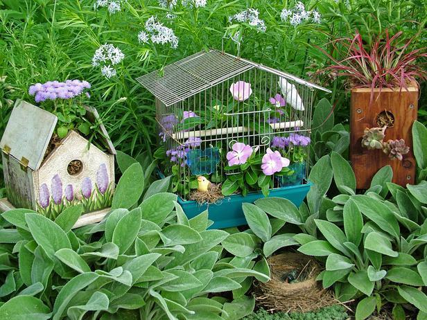 """<div class=""""caption-credit"""">Photo by: Nancy Ondra</div><div class=""""caption-title"""">For the Birds</div>Old bird cages, birdhouses and feeders make fun and fanciful containers for displaying pretty plants. Abandoned nests, bird figurines, feathers and other avian accessories help to complete the theme."""