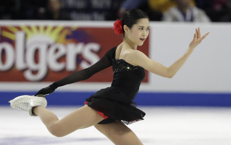 In this Oct. 21, 2018, photo, Satoko Miyahara, of Japan, performs during the women's free program at Skate America in Everett, Wash.  Local favorite Miyahara will be aiming to continue her strong start to the season at The NHK Trophy, the fourth event of the International Skating Union's 2018 Grand Prix Series. Miyahara opened her season with a victory at Skate America, but will face a tough challenge in the form of Russia's Elizaveta Tuktamysheva who claimed the Skate Canada crown two weeks ago.(AP Photo/Ted S. Warren)