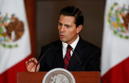 Mexico's President Enrique Pena Nieto speaks to the audience during a meeting with members of the Diplomatic Corps in Mexico City, Mexico