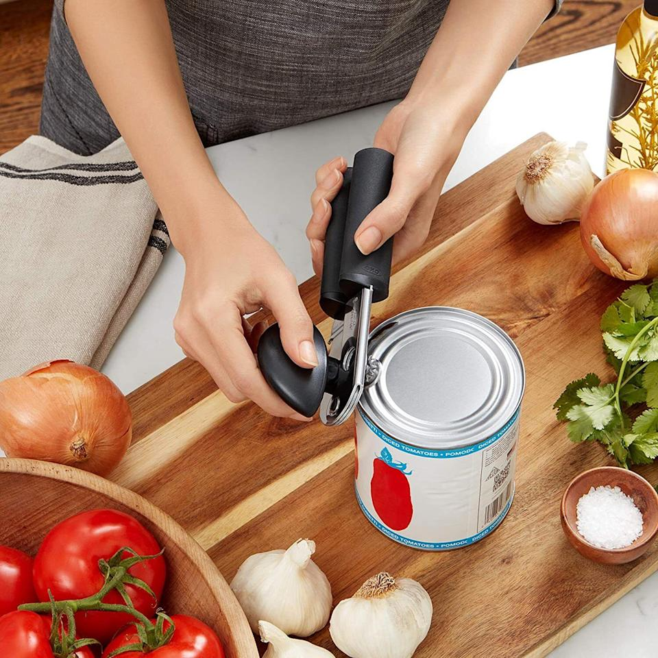 """With cushioned handles, this can opener will make popping open your favorite soup so easy. You'll be pleased you added this to your cart the next time your power goes out and you can't use the fancy electric one you typically reach for.<br /><br /><strong>Promising review:</strong>""""The OXO can opener is a work-horse. It is strong, well-made and plows through whatever you give it, with ease. I've had this one before and after years, it finally gave out and was hard to turn. But in buying an alternative from another company, I quickly realized the mistake and went right back to OXO to buy another. This one is so sturdy that it will last for a very long time and I'm really glad I bought it again."""" —<a href=""""https://amzn.to/3xisLwM"""" target=""""_blank"""" rel=""""noopener noreferrer"""">A.M. Miller</a><br /><br /><br /><strong>Get it from Amazon for<a href=""""https://amzn.to/32J9Z3m"""" target=""""_blank"""" rel=""""noopener noreferrer"""">$14.95</a>.</strong>"""