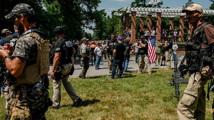 Far-right groups, some armed, arrived at the historic grounds at Gettysburg
