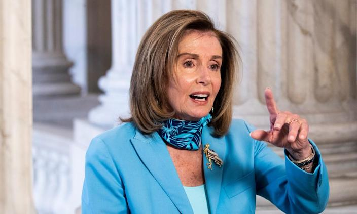 """<span class=""""element-image__caption"""">Nancy Pelosi: The DHS inspector general must immediately investigate the allegations detailed in this complaint.</span> <span class=""""element-image__credit"""">Photograph: Michael Reynolds/EPA</span>"""