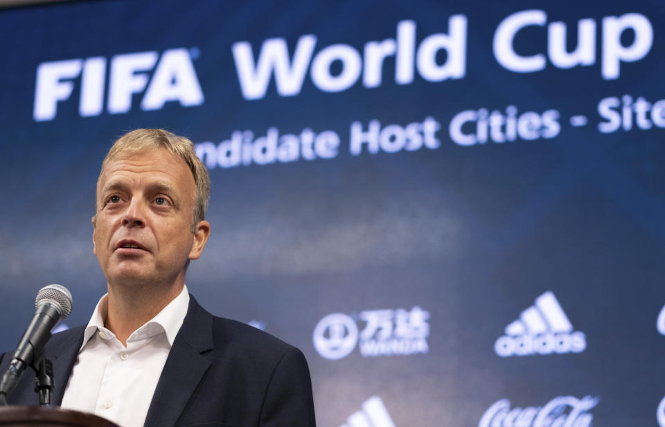 Colin Smith, FIFA chief tournaments & events officer, answers a question during a press conference Friday afternoon, Sept. 17, 2021 at Mercedes-Benz Stadium in Atlanta. Officials were touring the stadium as part of the FIFA World Cup 2026 Candidate Host City Tour. (AP Photo/Ben Gray)
