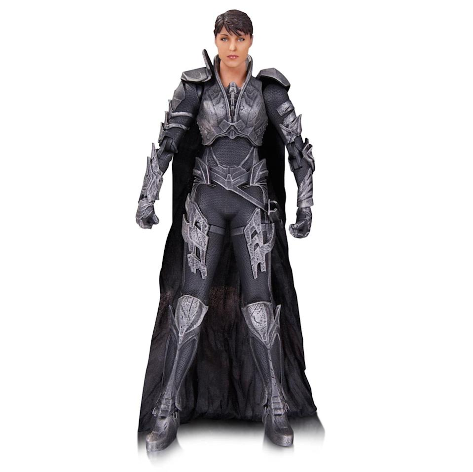 <p>Zod's partner in mayhem (played by Antje Traue) models the latest in Kryptonian war armor and includes a swappable masked head, interchangeable hands, and a knife. <i>(Available in September; $45)</i></p>