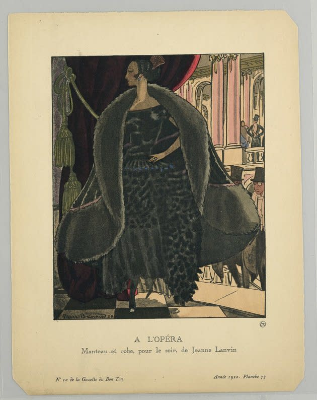 "French print, circa 1920, of a Jeanne Lanvin boatneck dress design. The caption reads ""At the opera: Coat and dress for the evening, by Jeanne Lanvin"""