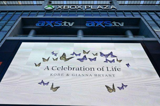 PHOTO: Detailed view of signage at the LA Live plaza before a memorial at Staples Center for Kobe and Gianna Bryant, Feb 24, 2020, in Los Angeles. (Dylan Stewart/Image of Sport via Reuters)