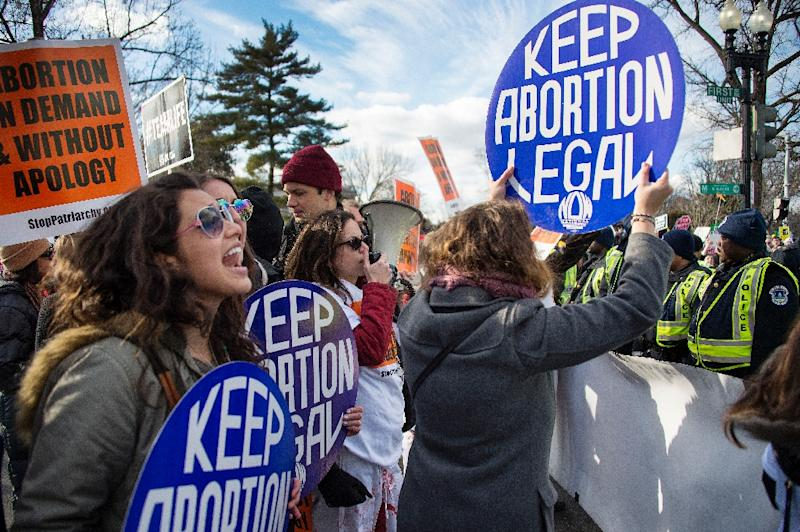 Pro-choice activists block the road against US Capitol Police, who are escorting the March For Life's path, in front of the US Supreme Court in Washington, DC, January 22, 2015 (AFP Photo/Jim Watson)