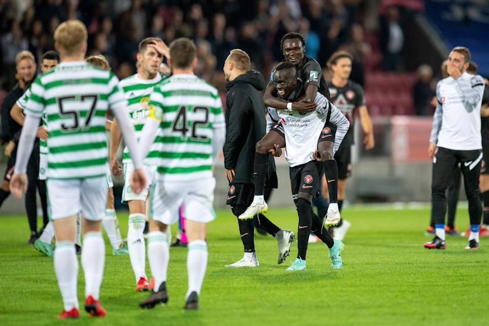 Midtjylland players get their celebrations on.